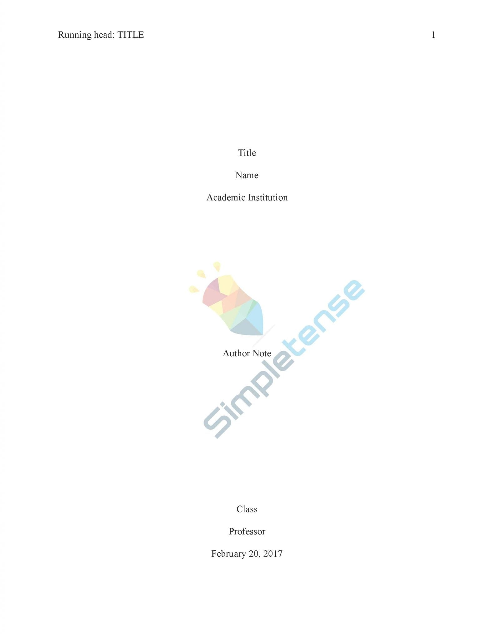 Essay代写 APA Title Page