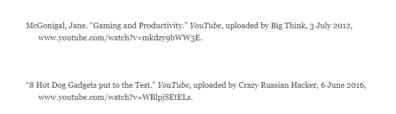 MLA格式 引用YouTube视频