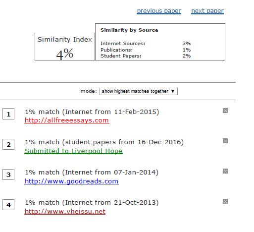 Turnitin查重 检测报告